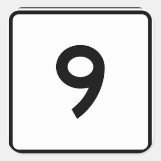 Massachusetts Route 9 Square Sticker