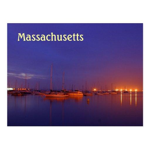 Massachusetts sailboats in marina at dusk postcard