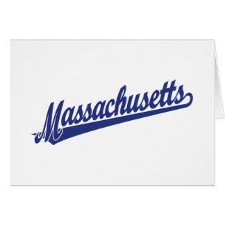 Massachusetts script logo in blue card