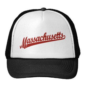 Massachusetts script logo in red trucker hat