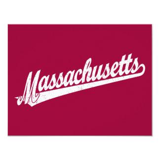 Massachusetts script logo in white distressed 4.25x5.5 paper invitation card