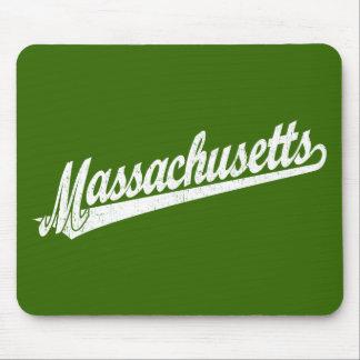 Massachusetts script logo in white distressed mousepad