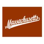 Massachusetts script logo in white distressed post card