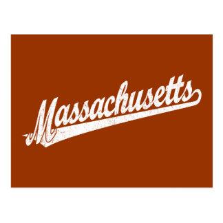 Massachusetts script logo in white distressed postcard