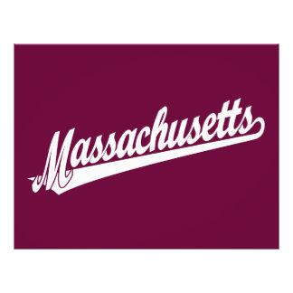 Massachusetts script logo in white flyer