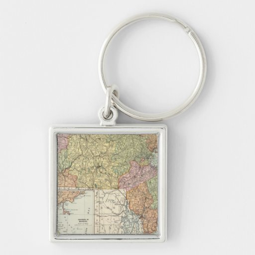 Massachusetts Silver-Colored Square Keychain