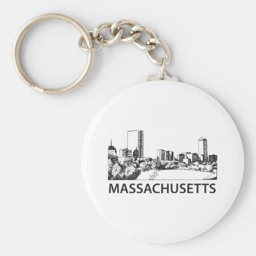 Massachusetts Skyline Basic Round Button Keychain