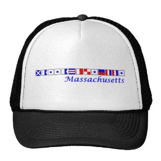 Massachusetts spelled in nautical flag alphabet trucker hat