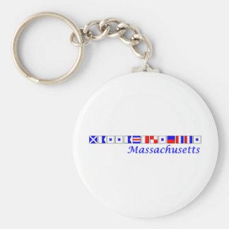 Massachusetts spelled in nautical flag alphabet keychain