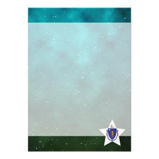"""Massachusetts Star Design Flag 5"""" X 7"""" Invitation Card"""