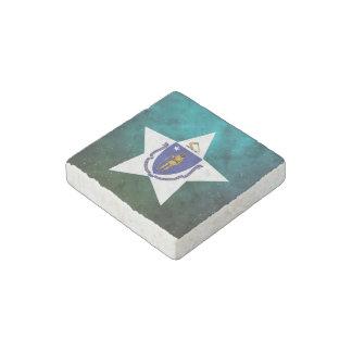 Massachusetts Star Design Flag Stone Magnet