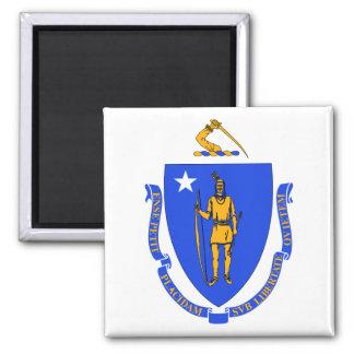Massachusetts State Flag 2 Inch Square Magnet