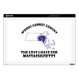 """Massachusetts state flag and map designs 17"""" laptop skin"""