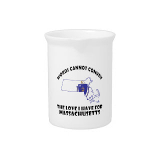 Massachusetts state flag and map designs beverage pitcher