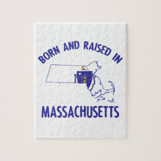 Massachusetts state flag and map designs jigsaw puzzle