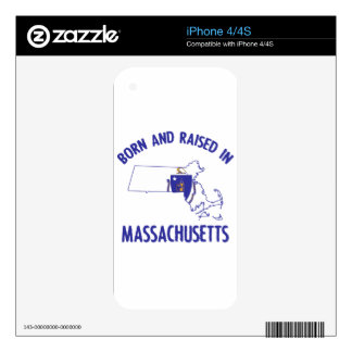 Massachusetts state flag and map designs skin for iPhone 4