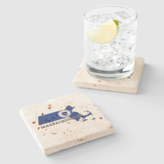 Massachusetts State Flag and Map Stone Coaster