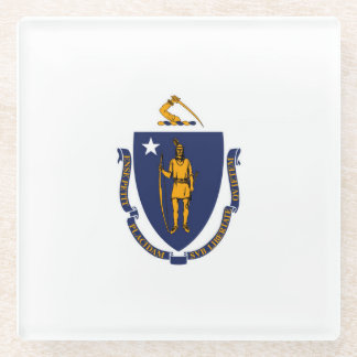 Massachusetts State Flag Design Decor Glass Coaster