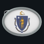"Massachusetts State Flag Design Oval Belt Buckle<br><div class=""desc"">Here&#39;s a Massachusetts State Flag Design presented on a variety of popular products. A great custom gift idea for all occasions and for anyone coming for a visit. 