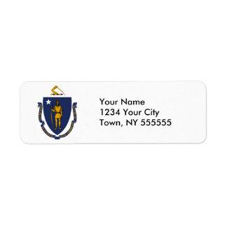 Massachusetts State Flag Return Address Label