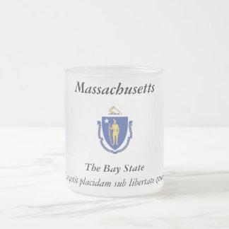 Massachusetts State Flag 10 Oz Frosted Glass Coffee Mug