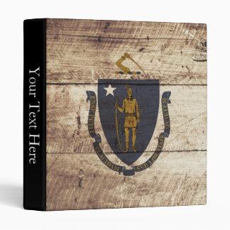 Massachusetts State Flag on Old Wood Grain Vinyl Binder