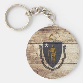 Massachusetts State Flag on Old Wood Grain Keychain