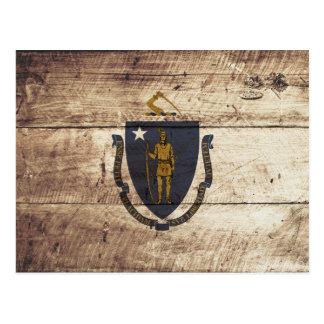 Massachusetts State Flag on Old Wood Grain Postcard