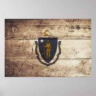 Massachusetts State Flag on Old Wood Grain Poster