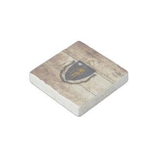 Massachusetts State Flag on Old Wood Grain Stone Magnet