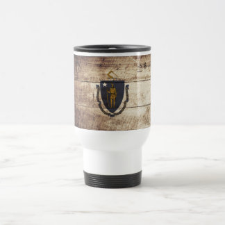 Massachusetts State Flag on Old Wood Grain Travel Mug