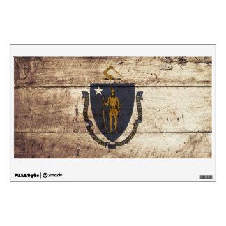 Massachusetts State Flag on Old Wood Grain Wall Decor