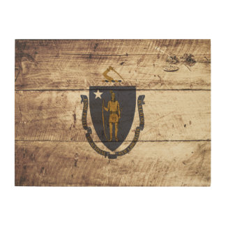 Massachusetts State Flag on Old Wood Grain Wood Canvases