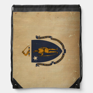 Massachusetts State Flag VINTAGE.png Drawstring Backpack