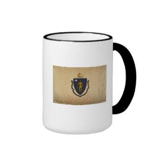 Massachusetts State Flag VINTAGE.png Ringer Coffee Mug
