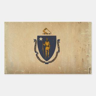 Massachusetts State Flag VINTAGE.png Rectangular Sticker