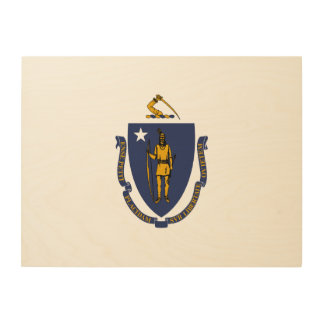 Massachusetts State Flag Wood Canvases