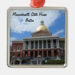 Massachusetts State House, Boston Square Metal Christmas Ornament