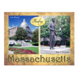 Massachusetts State House & Kennedy's Statue Postcard