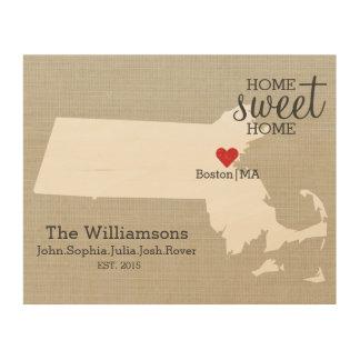 Massachusetts State Map Custom Family Name & Year Wood Print
