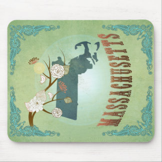 Massachusetts State Map – Green Mouse Pad