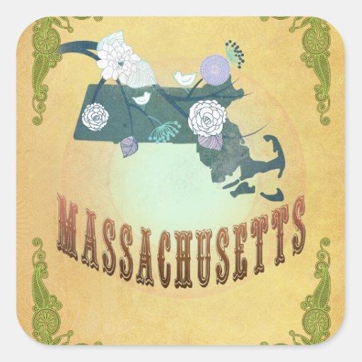 Massachusetts State Map- Passion Fruit Yellow Square Sticker