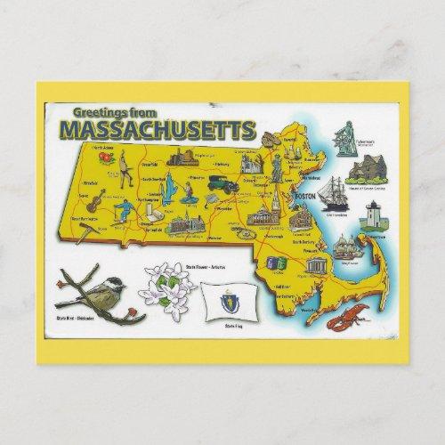 Massachusetts State Map Postcard