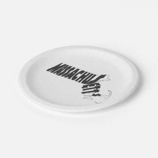 Massachusetts State Name Word Art Black Paper Plate