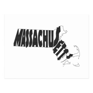 Massachusetts State Name Word Art Black Postcard