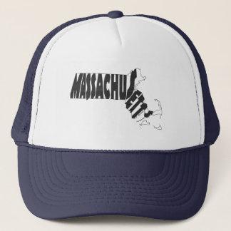 Massachusetts State Name Word Art Black Trucker Hat