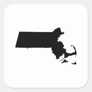 Massachusetts state outline square sticker