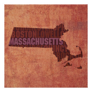 Massachusetts State Outline Word Map on Canvas Print