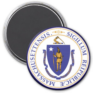 Massachusetts State Seal 3 Inch Round Magnet