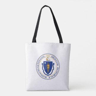 Massachusetts state seal america republic symbol f tote bag